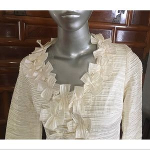 ANN FONTAINE FRENCH Zip Flower Blouse-FR36 US4 EUC